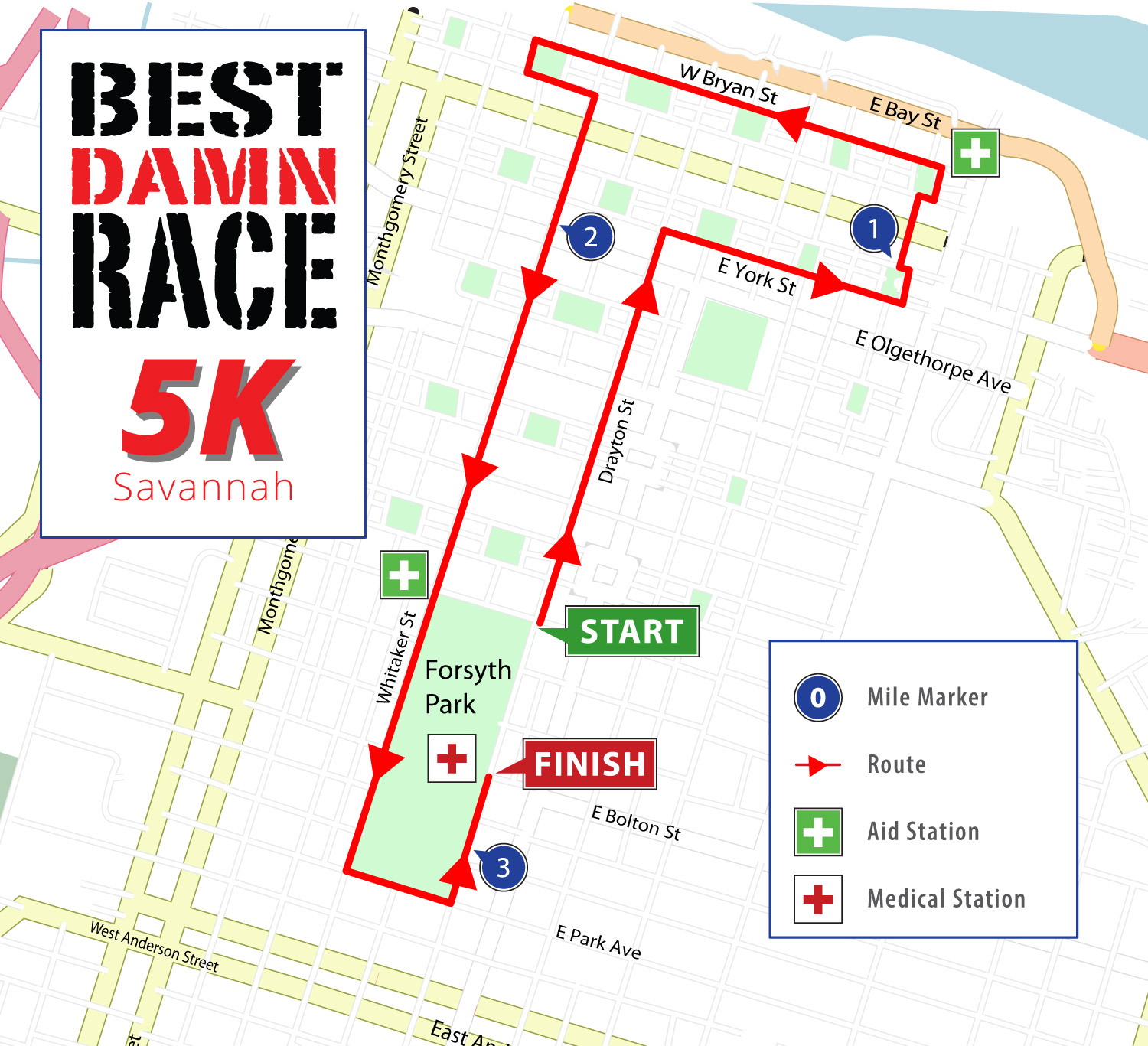 Savannah, GA 5K Map