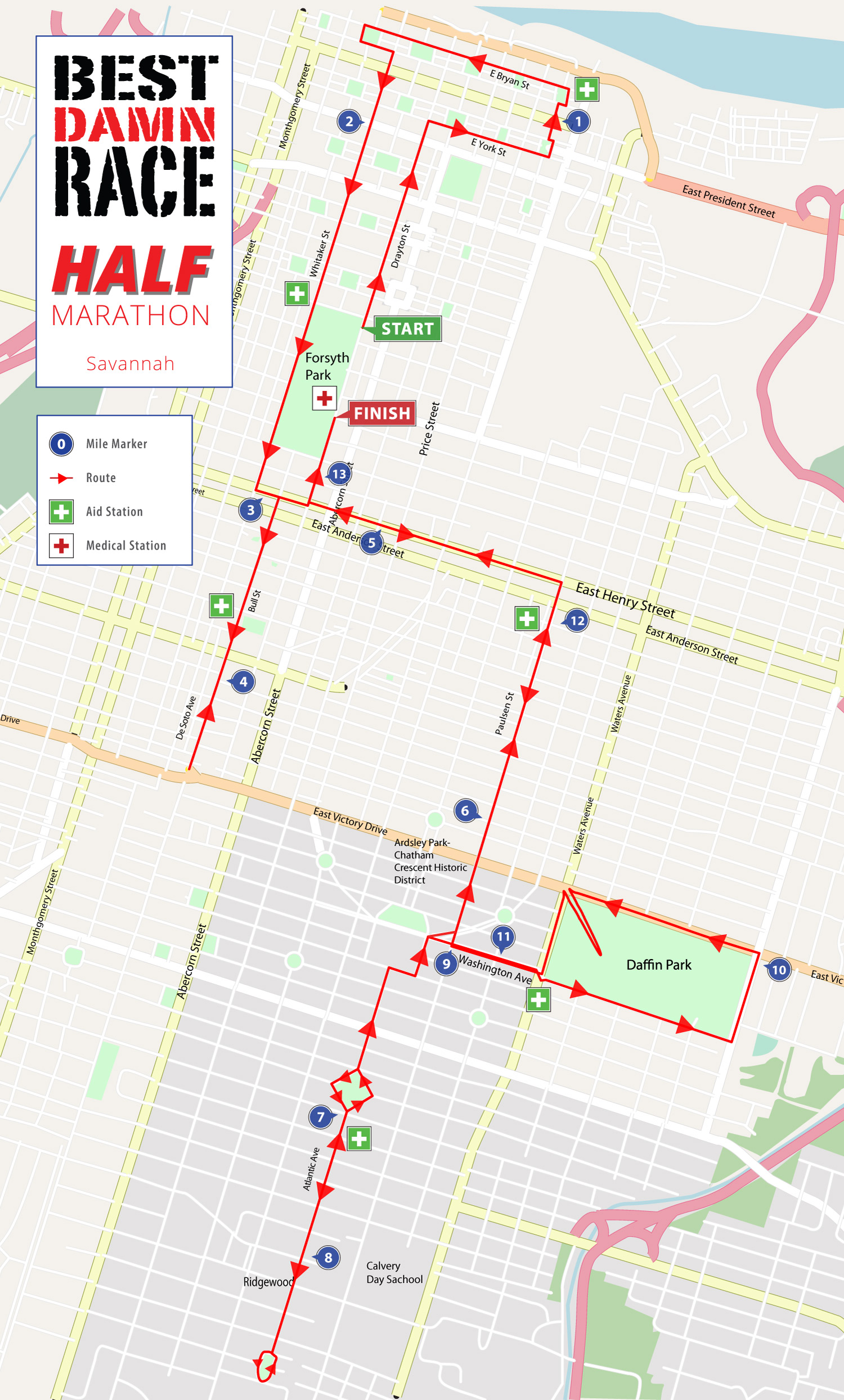 Savannah, GA Half Marathon 13.1 Map
