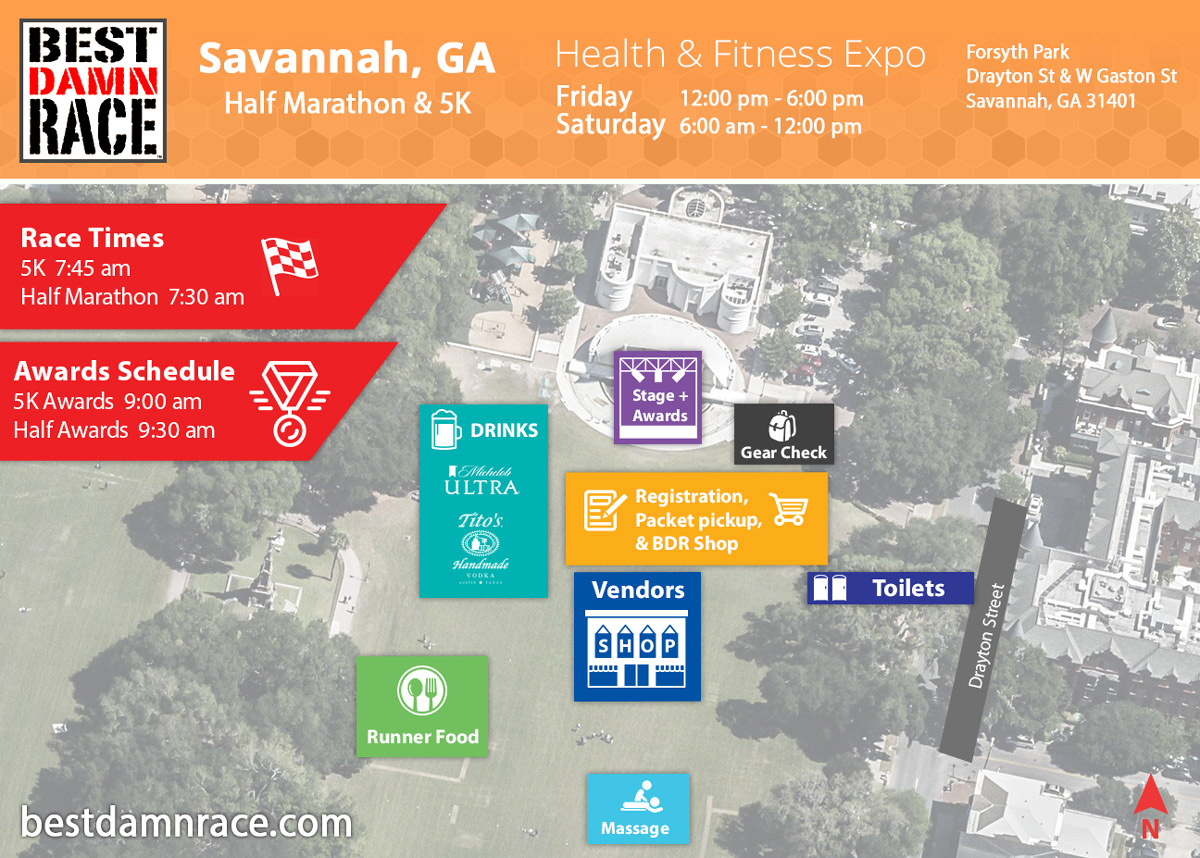 Health & Expo Map - Savannah, GA - Best Damn Race
